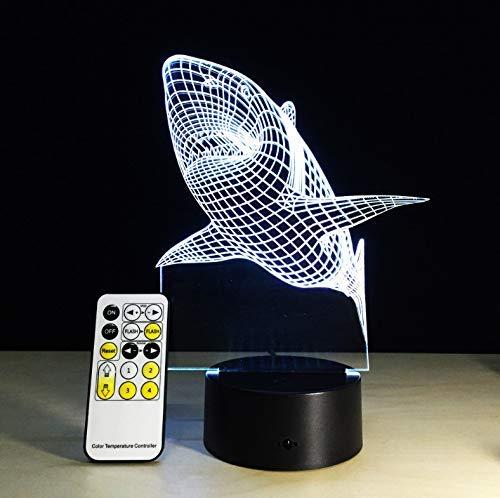 3D LED nachtlampje White Shark Touch of Remote Touch Tafellamp 7 kleuren veranderende USB-oplader cadeau Multi Ction Card