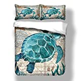 DXSX Ropa de Cama Misterioso Oceano Creativo 3D Animales Marinos Mundo Imprimiendo Funda nórdica (Tortuga,240 × 220cm- Cama 150cm)