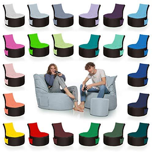 HomeIdeal - 2Farbiger Gamer Sitzsack Lounge für Erwachsene & Kinder - Gaming oder Entspannen - Indoor & Outdoor da er Wasserfest ist - mit EPS Perlen, Farbe:Schwarz- Anthrazit, Größe:Erwachsene