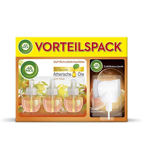 Air Wick Duftölflakon Vorteilspack – Duftstecker mit 3 Nachfüllern – Frischer Duft mit ätherischen Ölen – Duft: Anti-Tabak – 3 x 19 ml Duftöl Set