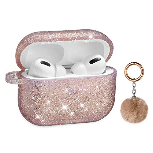 Airpods Pro Case, DMMG Airpods Case Cover Silicone Skin, AirPods Protective Cute Bling Glitter Case with Fluff Ball Keychain, Scratch Proof and Drop Proof for Apple Airpods Pro (Rose Gold)