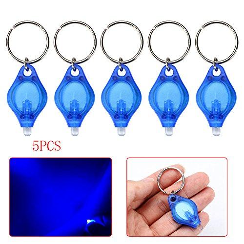 Mini lampe de poche trousseau, 5pcs lampe portative à LED, lampe torche de poche super brillante avec doigt, lampe à pendentif, porte-clés suspendu pour zones sombres, camping/chasse/randonnée, bleu