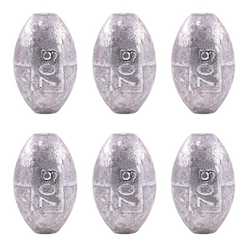 Hilitchi Assorted Sizes Egg Oval Shaped Fishing Weights Sinkers Bass Fishing Casting