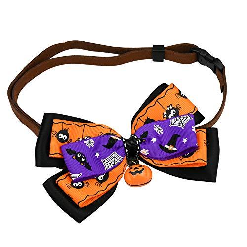 WEKON Halloween Katze Hunde Krawatten Bogen Kürbisglocke Fliege Hundehalsband verstellbaren Kragen Zubehör für Haustier Hund Katze Halloween Festival Cosplay Kostüm (L)