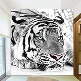 Abihua Papel Pintado 3D De Animales De Tigre Blanco Y Negro Personalizado Mural Sala De Estar Sofá Tv Telón De Fondo Sala De Entrada Papeles De Pared