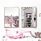 Pintura en lienzo, cabina telefónica rosa, Rock Love, arte de pared, carteles nórdicos e impresiones, cuadros de pared para decoración del hogar, 50x70cmx2 sin marco