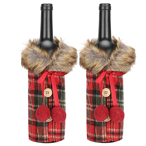 2 piezas de tapa de botella de vino de Navidad, bolsas de regalo de vino, vestido de botella de vino de tela a cuadros rojos, para bodas, cumpleaños, viajes, fiestas,decoración del hogar