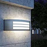 FactorLED Pack x2 Apliques de Pared LED 9W, Lámpara Exterior IP44, Iluminación agradable para Casa, Balcón, Jardín,...