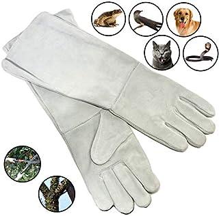 【ec-drive】噛みつき防止 本革 ペットグローブ ロング 手袋(ホワイト) 猛禽類 爬虫類 ハンドリング