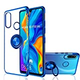 Huawei P30 Lite Case, [360° Ring Stand] Crystal Clear [Electroplated Metal Technology] Silicone...