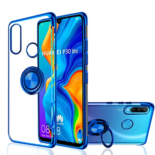 Huawei P30 Lite Case, [360° Ring Stand] Crystal Clear [Electroplated Metal Technology] Silicone Soft TPU [Shockproof Protection] Thin Cover Compatible with Huawei P30 Lite (Blue, P30 Lite)