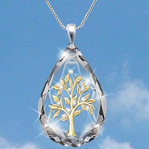 Collar Collar con Colgante De Árbol De Vida con Forma De Gota De Agua De Cristal Transparente para Mujer, Collar De Joyería De Fiesta De Moda, Regalos