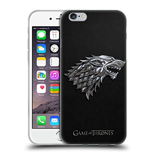 Head Case Designs Ufficiale HBO Game of Thrones Argento Stark Sigilli Cover in Morbido Gel Compatibile con Apple iPhone 6 / iPhone 6s