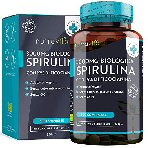 Spirulina biologica 500 mg con ficocianina grezza 19% - 600 compresse vegane - Prodotto biologico - Prodotto nel Regno Unito da Nutravita