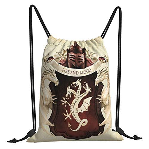 Game Thrones TV Show Bolsas de cordón para deportes, viajes, gimnasio, compras, unisex, portátil, gran capacidad, poliéster, cincha