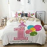 Juego de funda nórdica beige, tema de fiesta de hadas de princesa de primer cumpleaños con los mejores deseos, varita rosa y globos rosa pálido y lila, juego de cama decorativo de 3 piezas con 2 funda