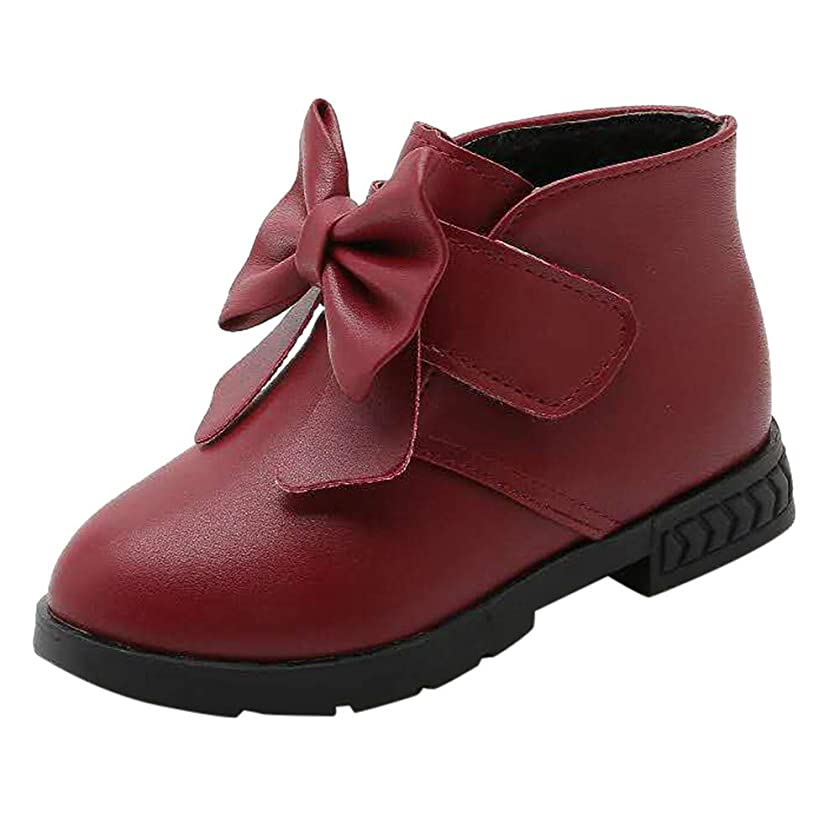 Lanhui Solid Bowknot Warm Boots Children Kid Baby Girls Princess Winter Shoes