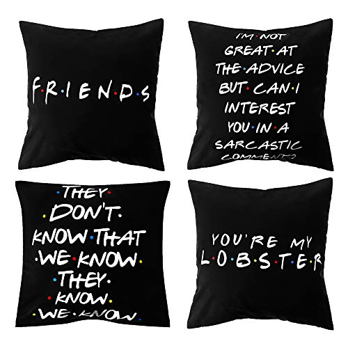 szxbogs 18x18 inch Funny Home Decor Polyester Printed Pillow Cases Cushion Cover Friends TV Show Pillow Covers (1 5 7 8)