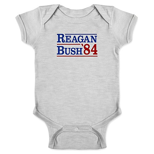Pop Threads Ronald Reagan George Bush 1984 Campaign Gray 6M Infant Baby Boy Girl Bodysuit