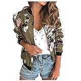VECDY Damen Jacken,Räumungsverkauf- Damen Retro Blumen Reißverschluss Up Bomber Jacke Casual Mantel Outwear Warme Sportjacke (XL, z-5)