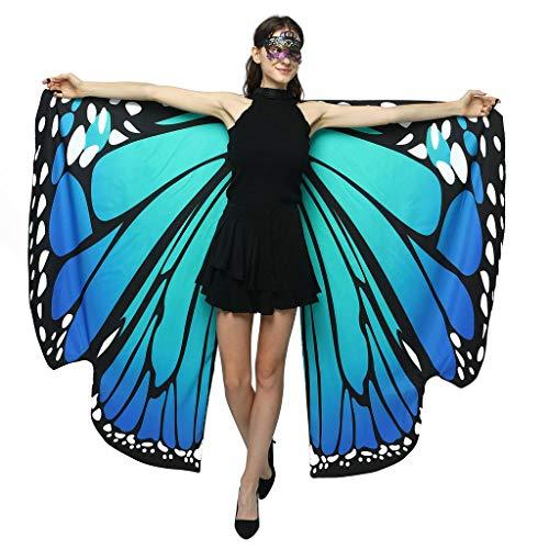 MRULIC Damen 140 * 100CM Neuheit Printed Chiffon Schmetterling Flügel Cape Schal Pfau Poncho Schal Wrap Pixie Karneval Cosplay Weihnachten Cosplay Kostüm Zusatz(R-Grün,168x135cm)