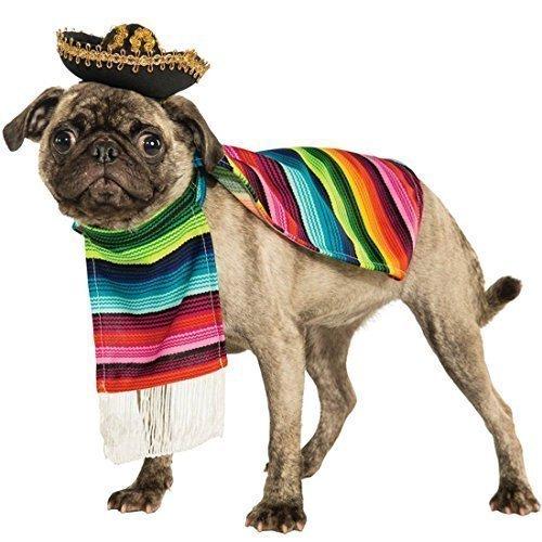 Fancy Me Haustier Hund Katze Mexikanischer Poncho & Sombrero-Hut Kostüm Kleid Outfit Kleidung Kleidung S-XL - Extra Large