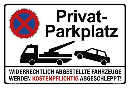 Hochwertiges Privatparkplatz Schild aus Aluminium Verbund 300x200 mm - Parken Verboten/Parkverbot - Widerrechtlich abgestellte Fahrzeuge Werden kostenpflichtig abgeschleppt!