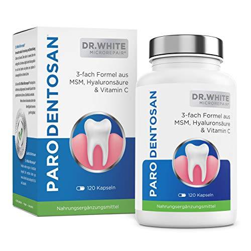 Dr. White Parodentosan Microrepair I 3-fach Formel aus MSM, Hyaluronsäure & Vitamin C Hochdosiert I Von Zahnärzten empfohlen (120 Kapseln)