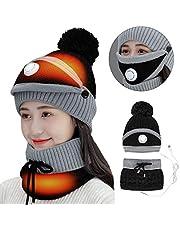 iFCOW Womens USB verwarmde muts sjaal set, winter fleece gevoerd warm gebreide muts cirkel lus sjaal nek warmer