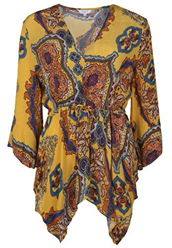 FROGBOX Damen Tunika mit Paisley-Muster Bänder