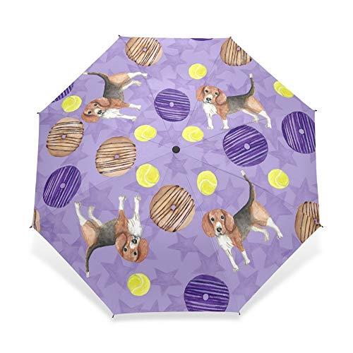 umbrella Personal Design Sausage Dog Viole Pattern Umbrella Child Rain Dog with Donuts Umbrella 3 Folding Automatic Baby Gift Rain Gear