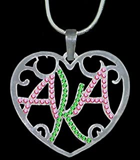 Alpha Kappa Alpha (AKA) Sorority Color Crystal Filigree Heart Necklace