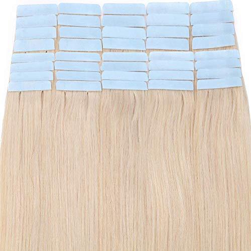 40 Pcs Extension Adhesive Cheveux Naturel - Rajout Vrai Cheveux Humain Naturel Bande Adhesive - #70 Blanc - 50CM 100g