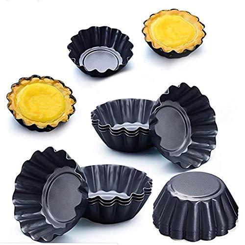 dgaf&bae 12 Stücke Torteletts Törtchenformen Tartelette Förmchen 6.5Cm Mini Tarteform Kohlenstoffstahl Eierkuchenform(schwarz)