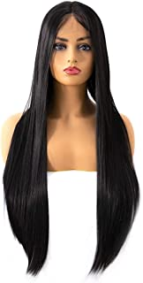 Hairpieces Hair Extension Lace Long Wig Hair Comfortable Natural Positive Human Wig Hair Weave (Color : Black, Size : 16inch)