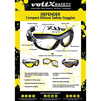 Univet 6X3 Safety Goggles G15 Solar Lens Anti Scratch /& Fog
