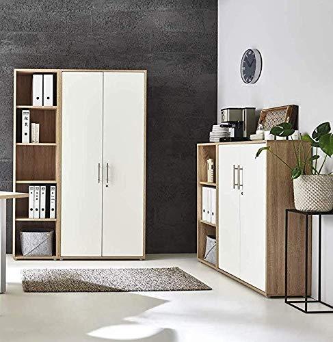 abschliessbare Regalwand Aktenschrank Büroschrank Schrankwand Büromöbel Regal Office Edition in Eiche...