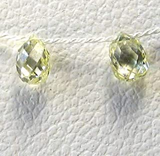 Natural .39cts Canary Diamond 3.5x2.75mm Briolette Beads Pair for Jewelry Making 6118