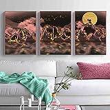 Cartel de la pared abstracta del barco del río de la montaña Pintura de la impresión de la lona del paisaje, Arte de la sala de estar Decoración del hogar Impresiones de imágenes 50x70cmx3 Sin marco