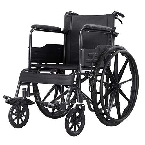 SDLYKX Faltrollstuhl Leichtgewicht, Mode Schwarz Sportlich Rollstuhl,Sitzbreite: 45 cm, Vollgummireifen, Mit Sicherheitsgurt, Gesäßtasche, PU-Lederarmlehne