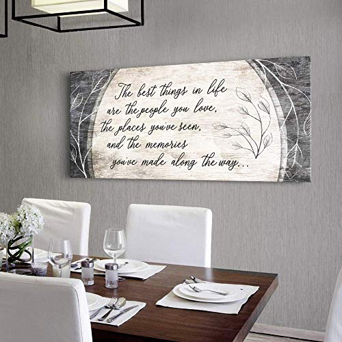 Sense of Art | The Best Things in Life are The People You Love Quote | Wood Framed Canvas | Ready to Hang Family Wall Art for Home and Bedroom Decoration