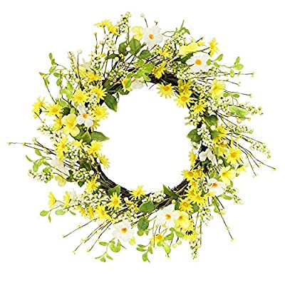 Puleo International 24 inch Artificial Daisy and Dogwood Floral Spring Wreath