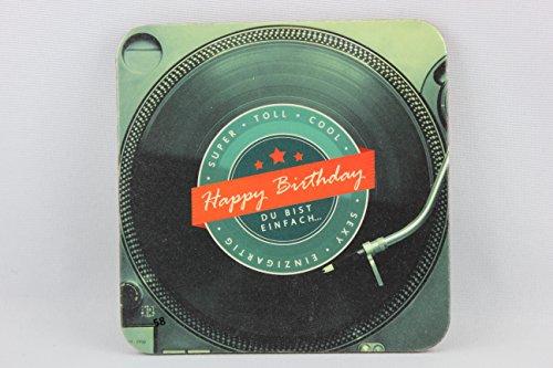Sheepworld, Gruss & Co - 81060 - Untersetzer Nr. 58, Happy Birthday, Kork, 9,5cm x 9,5cm