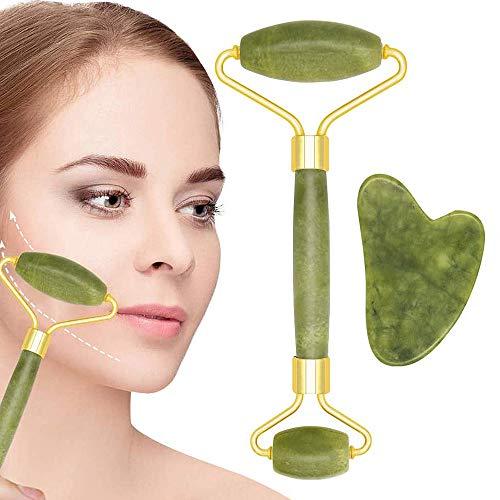 Jade Roller,Jade roller Massager,Gua Sha Scraping Tools Set,Natural face jade and roll Massager neck, Face Slimmer beauty,Skin Tightening, Facial Combination (2PCS)