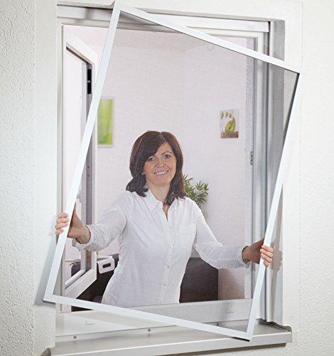 hecht international 101020201-VH COMPACT Fliegengitter-Fenster Flächenbündig, weiß, 100x120 cm