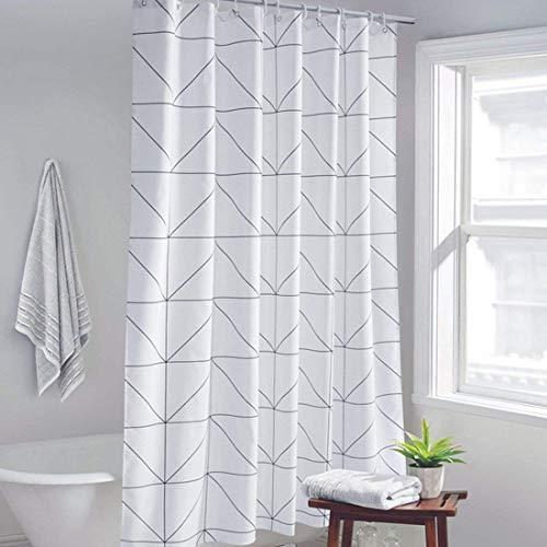 YISHU Karo Duschvorhang Badewannevorhang Wasserdicht Anti-Schimmel inkl. 12 Duschvorhangringe für Badezimmer 180x200cm