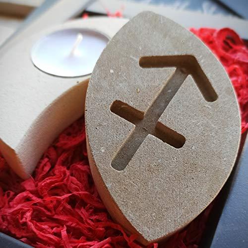 Schütze Sternzeichen Teelicht Kerzenhalter aus Stein - Handgemacht in Italien - Box, Teelicht Kerze und Nachrichtenkarte enthalten - Geschenkidee Geburtstag November Dezember - Sternzeichen Feuer