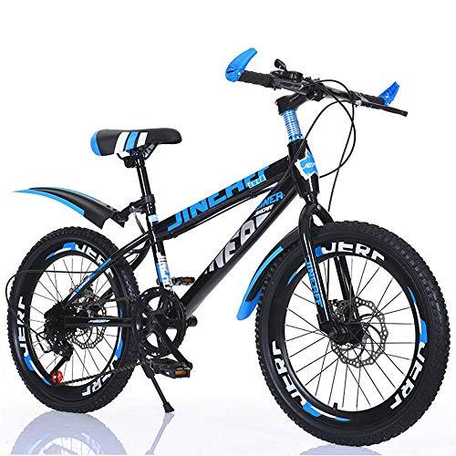 Bicicletas De MontañA Hombre 24 Pulgadas,Bicicleta De 7 Velocidades con Frenos De Doble Disco, con Cuadro De Acero Al Carbono Y Amortiguador, con Timbre, Candado Y Cantimplora 18inch Blue