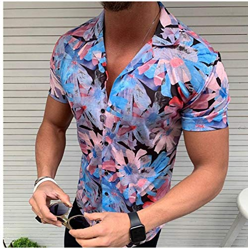 Pantalones Jeans New Men's Floral Shirt Short Sleeve Casual Shirt Fashion Rose Flower 3D Printed V Neck Collar Slim Fit Shirt For Mens Clothing Asiaxxl Blue