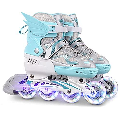 CLEEBAOXP Kids Inline Skate for Girls - Patines en línea ajustables para exteriores con iluminación, para niños y adultos - Green_M